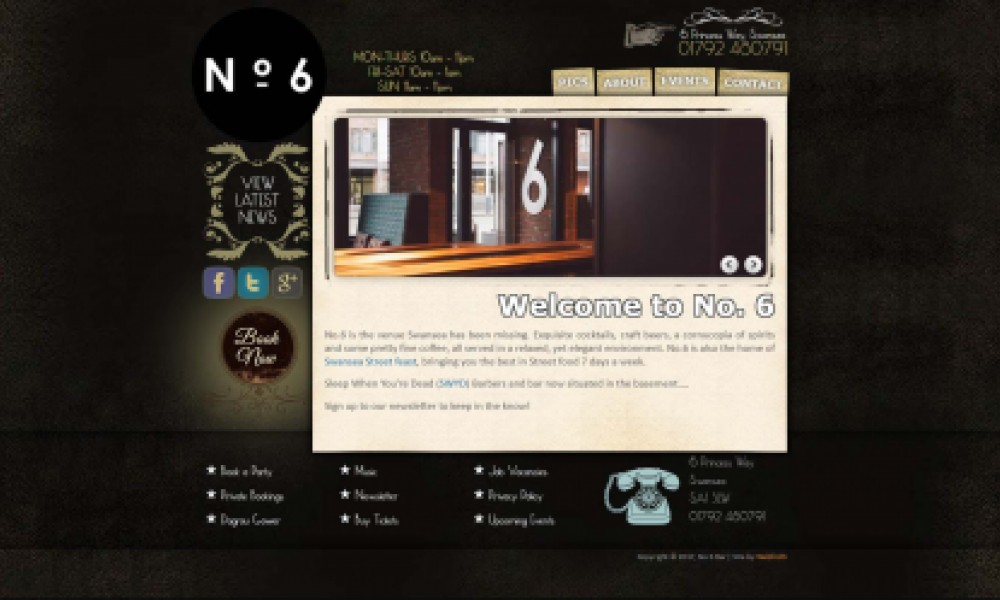 No 6 Bar Website Screenshot