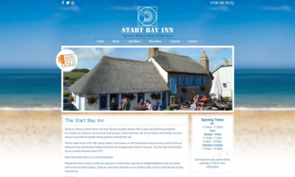 Start Bay Inn Website Screenshot