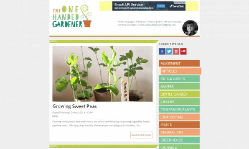 The One Handed Gardener Website Design